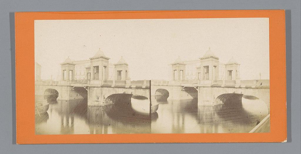Gezicht op de Lomonosovbrug in Sint-Petersburg, ca. 1850 - ca. 1880