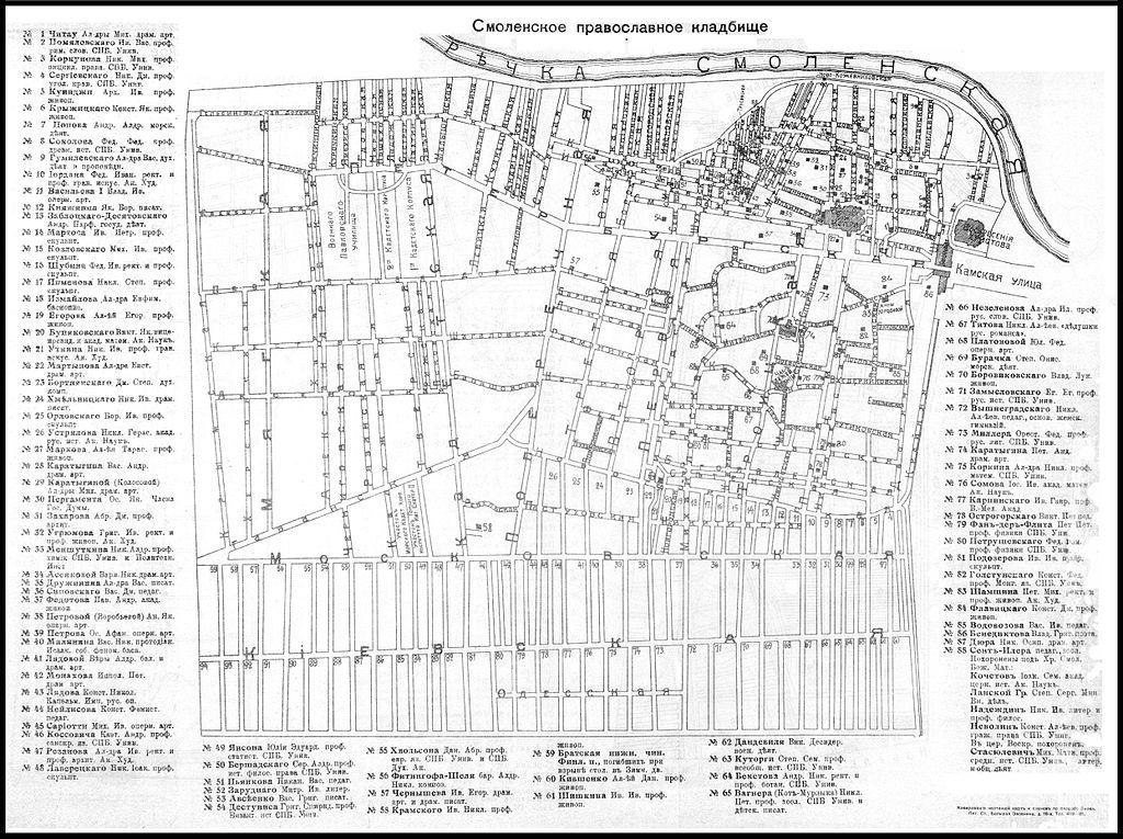 План кладбища, 1914 г.