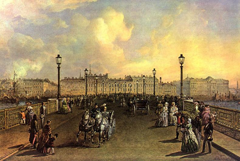 Вид на Благовещенский мост, акварель В. С. Садовникова, 1851 г. Фото: mostotrest-spb.ru