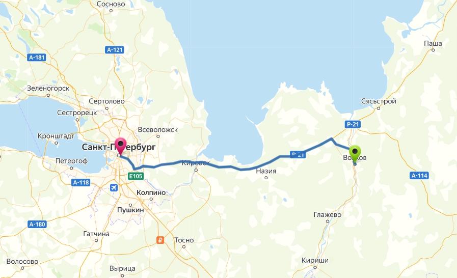 Маршрут: Санкт-Петербург - Волхов ~ 130 км.