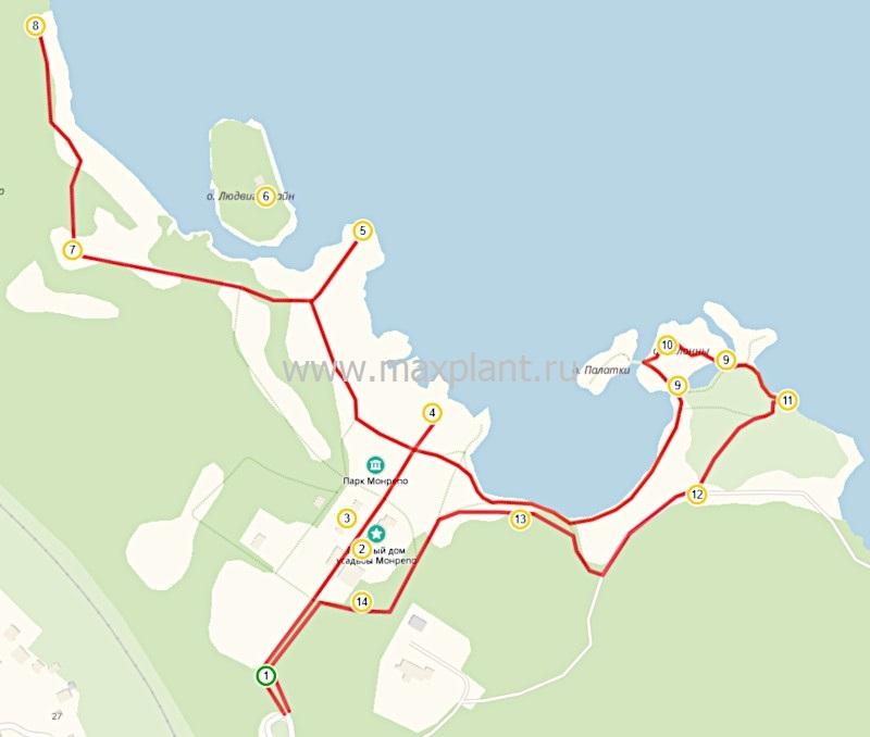 "Карта маршрута ""Парк Монрепо"""