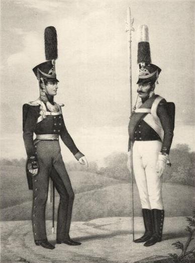 Обер-офицер и фельдфебель Лейб-гвардии Преображенского полка, 1809—1810 г. (Wikimedia Commons)