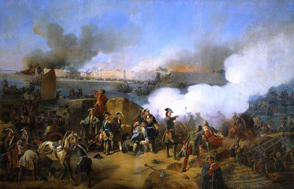 Штурм крепости Нотебург 11 (22) октября 1702 года. В центре изображён Пётр I. А. Е. Коцебу, 1846 г.