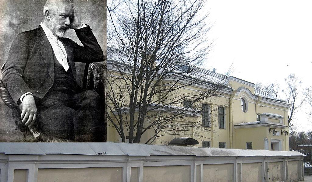 Тихвинское кладбище. Фото: Peterburg23 Портрет: П. И. Чайковский. Автор: Альфред Федецкий