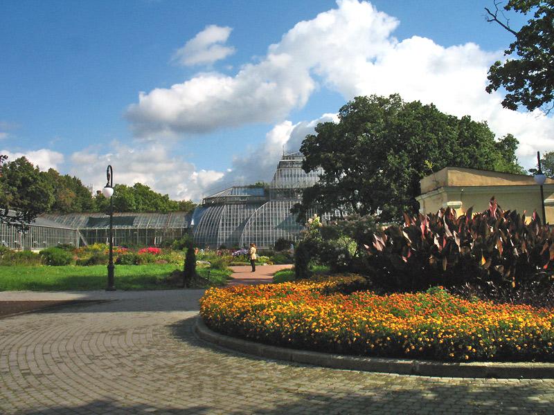 Оранжерея и цветник Ботанического сада Петра Великого. Фото: Lawerta