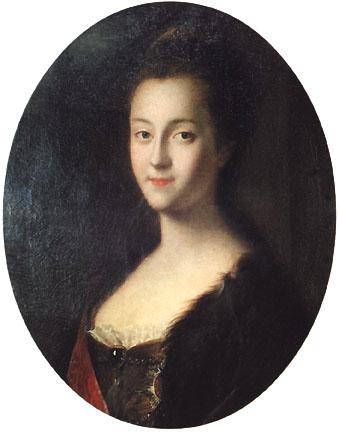 Екатерина после приезда в Россию, портрет кисти Луи Каравака