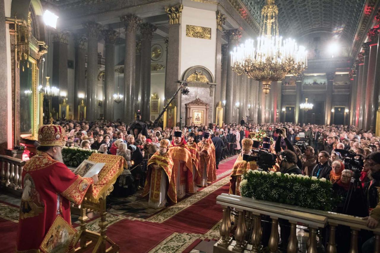 В праздник Пасхи в Казанском соборе. Фото: mitropolia.spb.ru