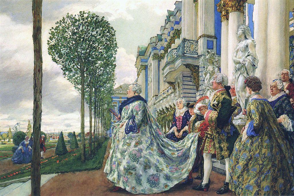 Е. Е. Лансере. Императрица Елизавета Петровна в Царском Селе. Гуашь. 1905 (Wikimedia Commons)