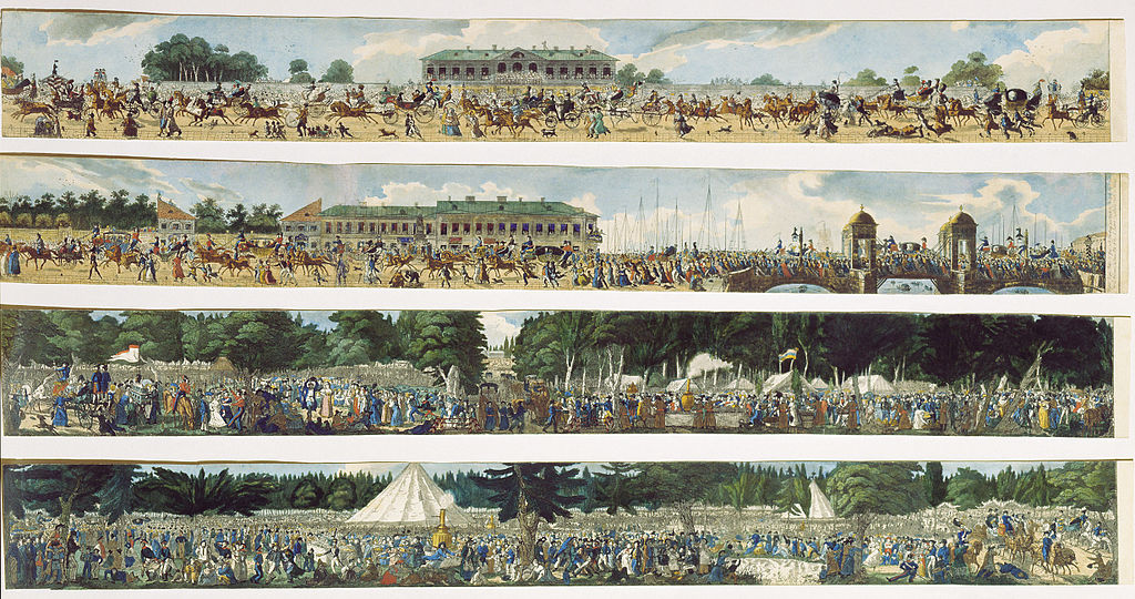 Гулянье в Екатерингофе 1824 г. Автор: Карл К. Гампельн (Wikimedia Commons)