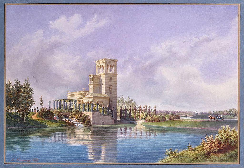 """""""Розовый павильон"""", акварель Луиджи Премацци, 1850 г. Картина в Государственном Эрмитаже (Wikimedia Commons)"""