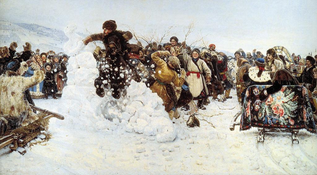"""В. И. Суриков. """"Взятие снежного городка"""". 1891 г.. (Русский музей)"""