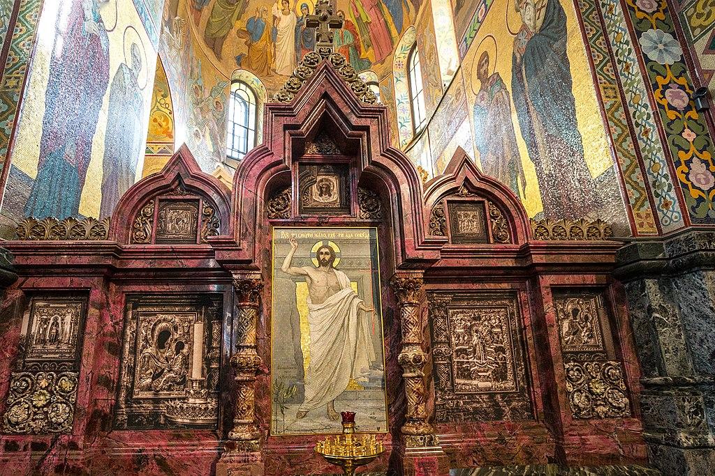 Собор Воскресения Христова на Крови (Спас на Крови) в Санкт-Петербурге. Интерьеры и мозаика. Фото: Timin Ilya (Wikimedia Commons)