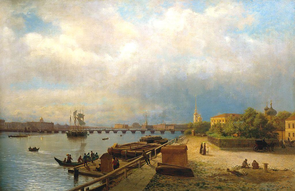 Л. Лагорио. Вид с Петропавловской набережной на Неву, 1859 г.