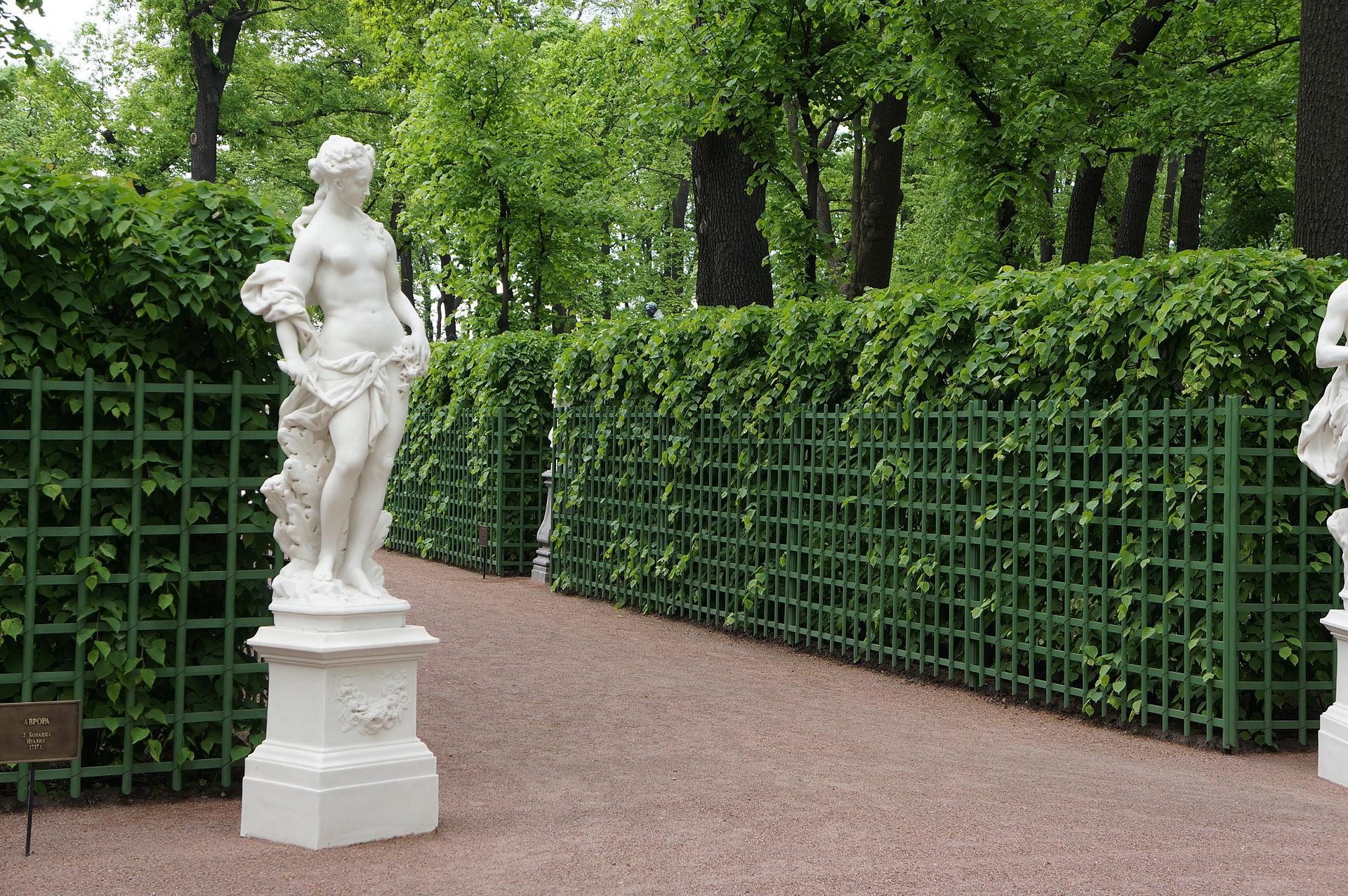 Летний сад. Центральная аллея. Шпалеры. Статуя. 2012 г. Автор фото: Евгений Со (Wikimedia Commons)
