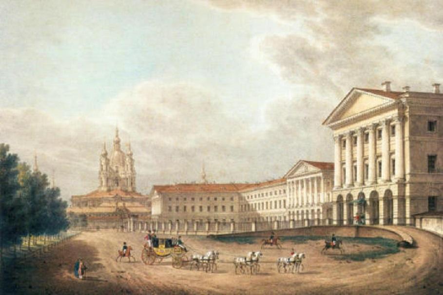 Галактионов С. Ф. Смольный институт. 1823 г. Литография (Wikimedia Commons)