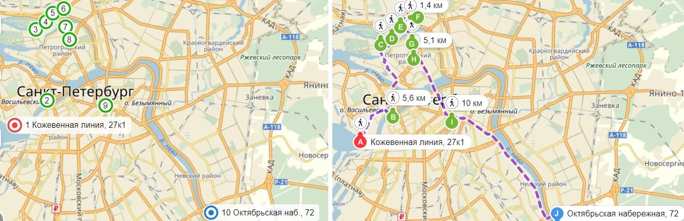 Карта общего маршрута по заброшенным особнякам