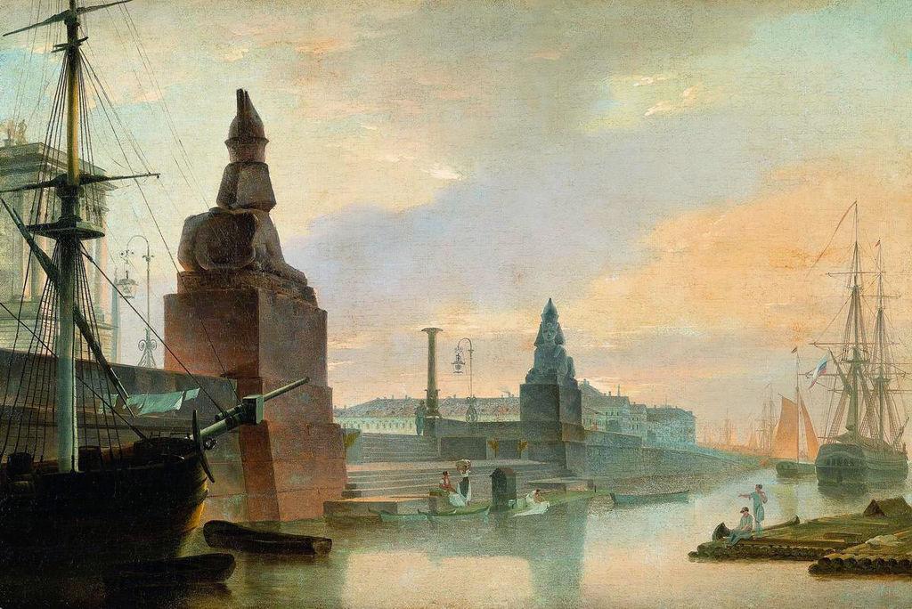 Университетская пристань в 1835 году. Набережная Невы у Академии художеств. Источник фото: Wikimedia Commons