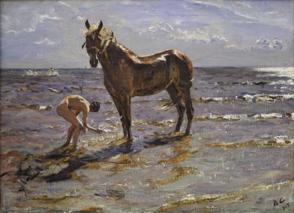 """Серов В. А. """"Купание лошади"""", 1905 г. Государственный Русский музей в Санкт-Петербурге (ГРМ)"""