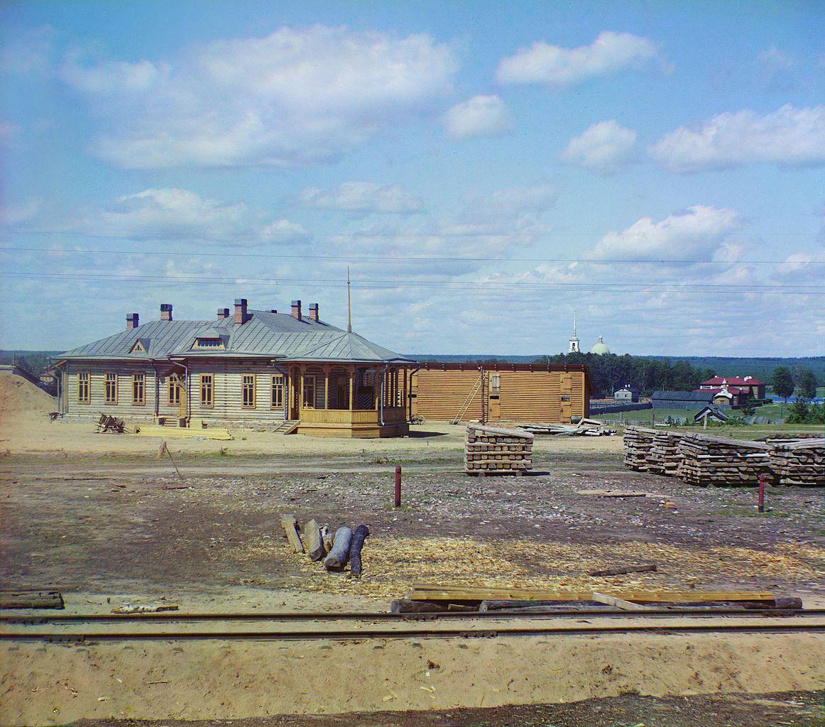 Железнодорожная станция Лодейное Поле Фотография С. М. Прокудина-Горского, 1916 г. (Wikimedia Commons)