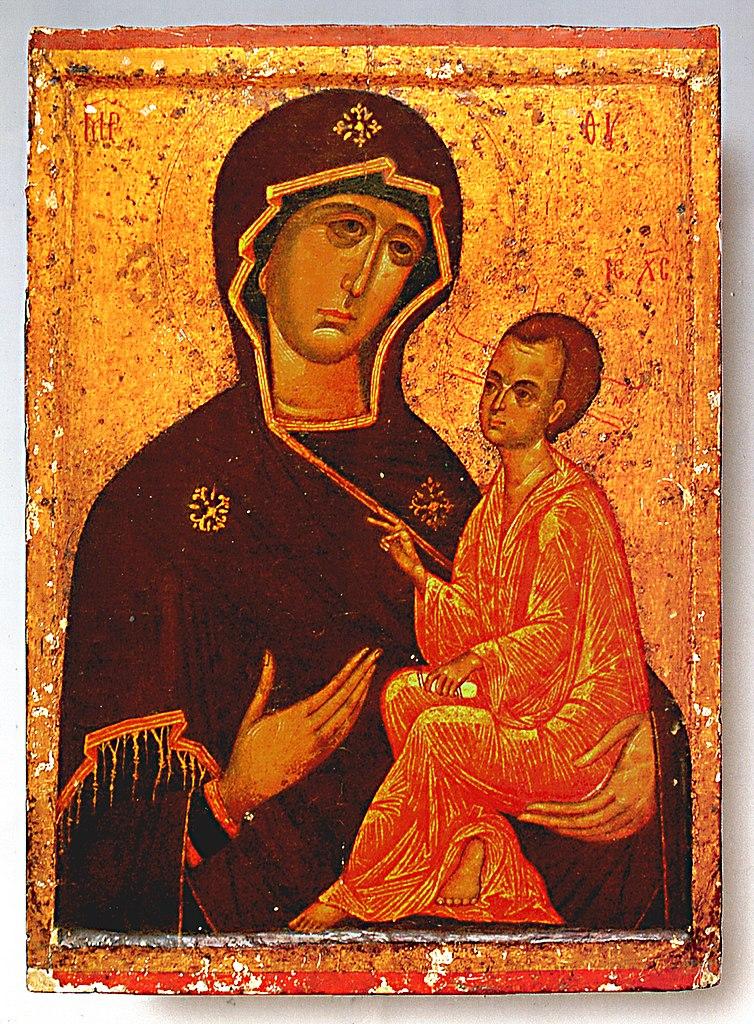 Тихвинская икона Божией Матери при снятом окладе, XV - XVI вв.