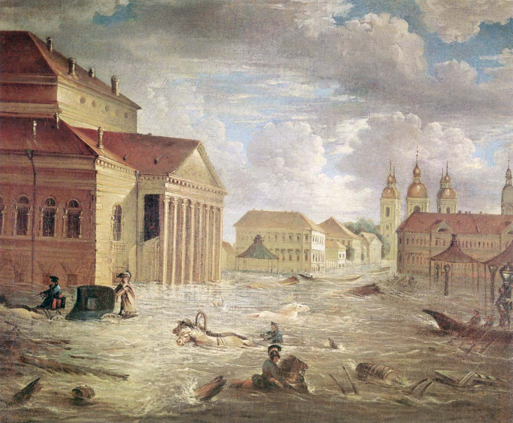 7 ноября 1824 года на площади у Большого театра. Картина  Fyodor Alekseyev (Wikimedia Commons)