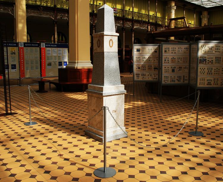 """Верстовой столб """"Нулевая верста"""" в здании Главпочтамта. Фото: wikimapia.org"""