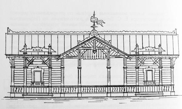 Входные ворота и кассы. Проект Е. С. Бикарюкова, 1894 г.