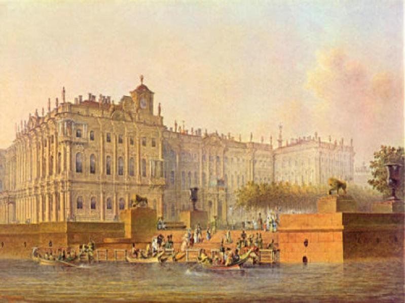 Василий Садовников. Вид пристани около Зимнего дворца. Литография 1840  (Wikimedia Commons)