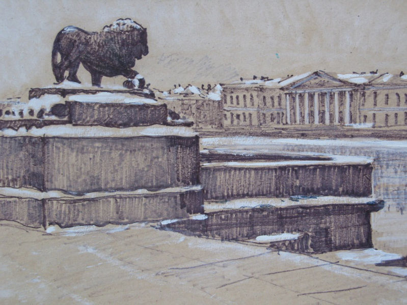 """Лев у Дворцового моста"", худ. Хаджибаронов С. П., 1986 (Wikimedia Commons)"