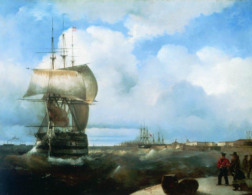 И. Айвазовский. Большой рейд в Кронштадте, 1836 г. Государственный Русский музей