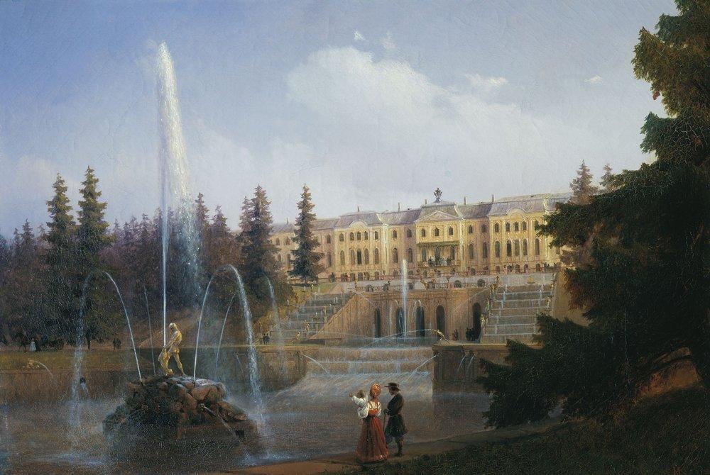 И.К. Айвазовский. Вид на Большой Каскад и Большой Петергофский дворец. 1837 (Wikimedia Commons)