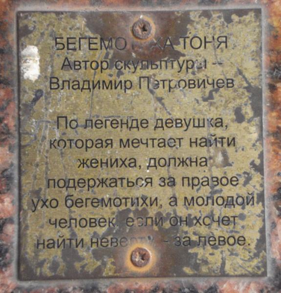 Надпись на памятнике, источник фото: http://wikimapia.org/18879945/ru/Бегемотиха-Тоня