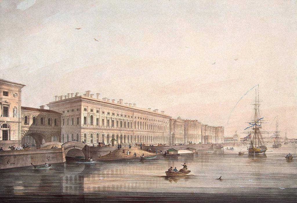 Вид Дворцовой набережной. Карл Беггров. 1826 (Wikimedia Commons)