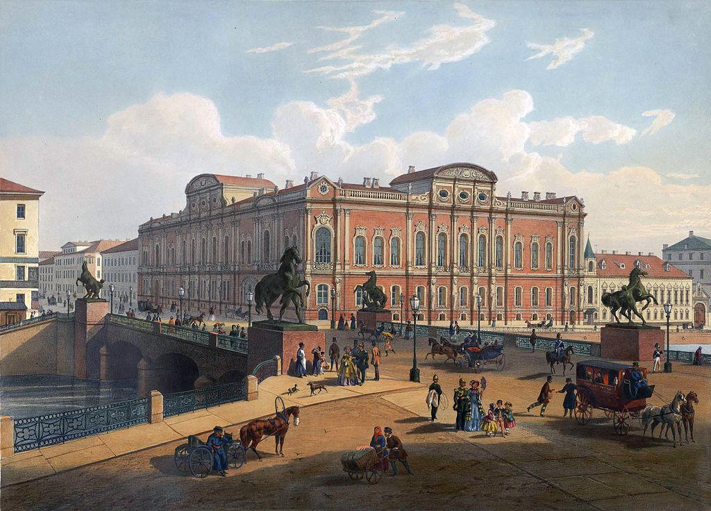 Аничков мост в XIX веке. Автор: Joseph-Maria Charlemagne-Baudet (Wikimedia Commons)