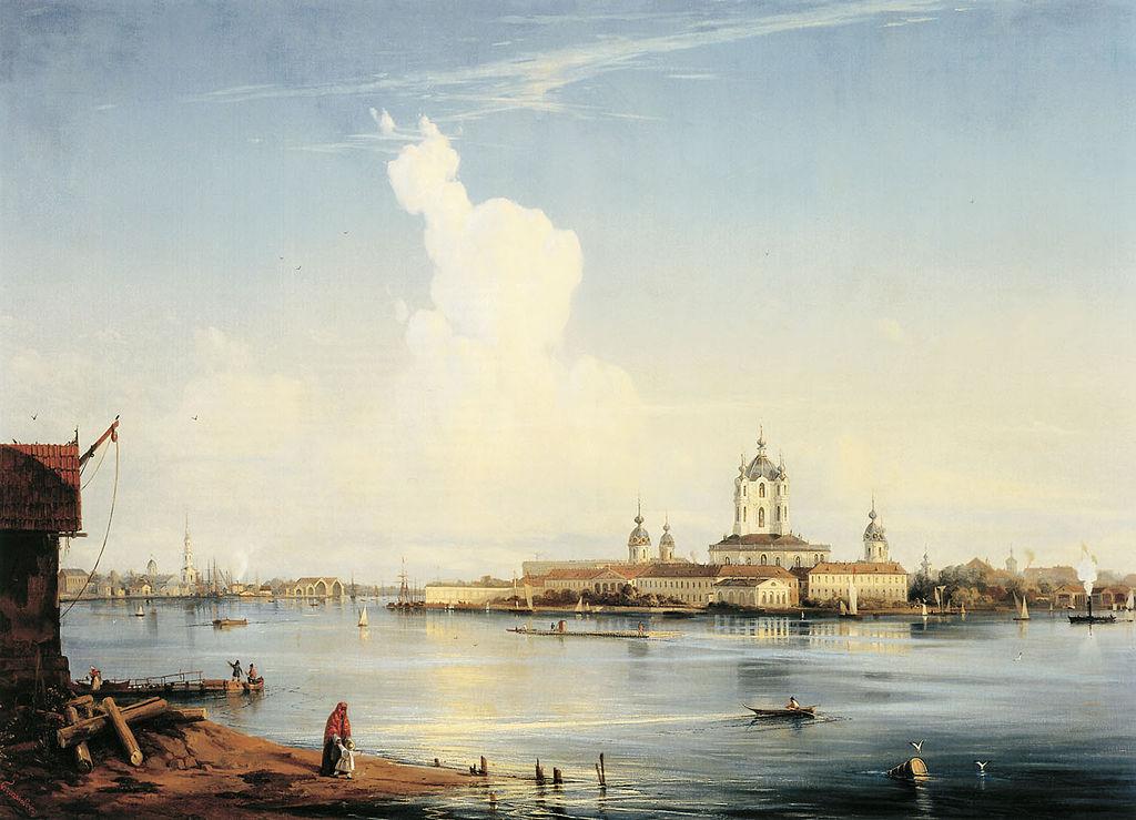 Вид на Смольный монастырь с Большой Охты. 1851. Автор: Alexey Bogolyubov (Wikimedia Commons)