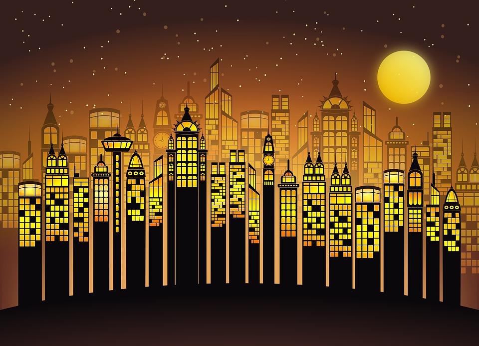 Ночной мегаполис, источник фото: pixabay.com