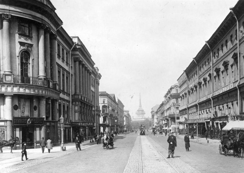Невский проспект в 1901 году. Фотография К. Буллы (Bundesarchiv)