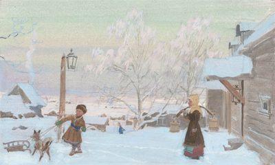 Зимой в усадьбе Автор: Д. Белюкин.  Источник: Иллюстрации | Сайт о романе Евгений Онегин