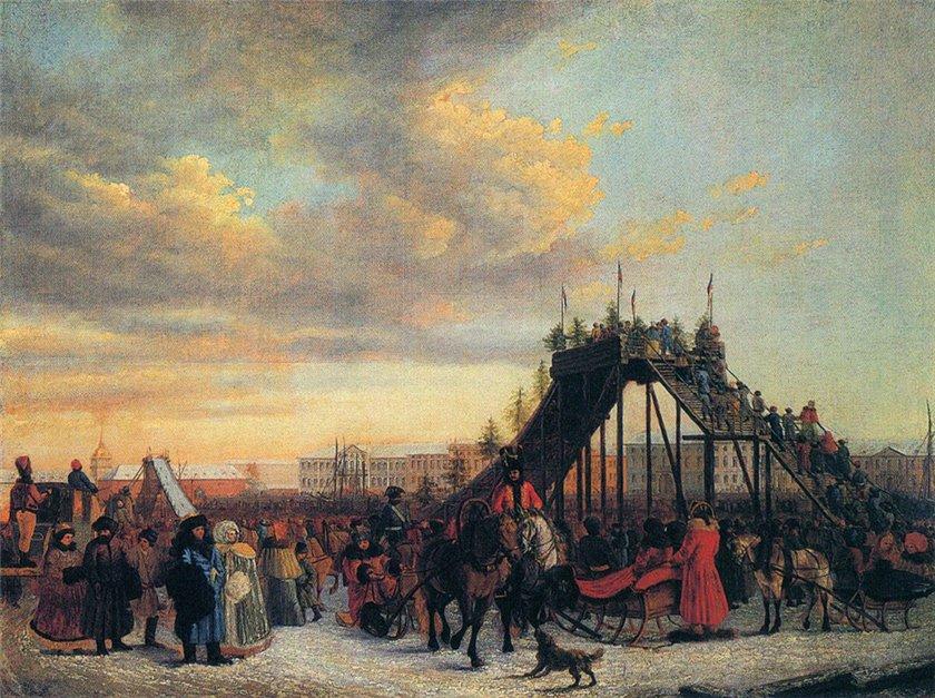 Д. Аткинсон. Катание с гор на Неве. 1792 г.