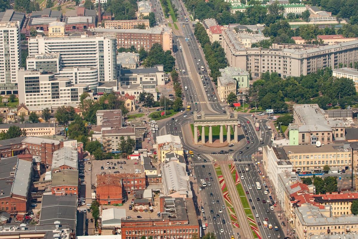 Московские триумфальные ворота, Московский район в Санкт-Петербурге, аэрофотосъемка