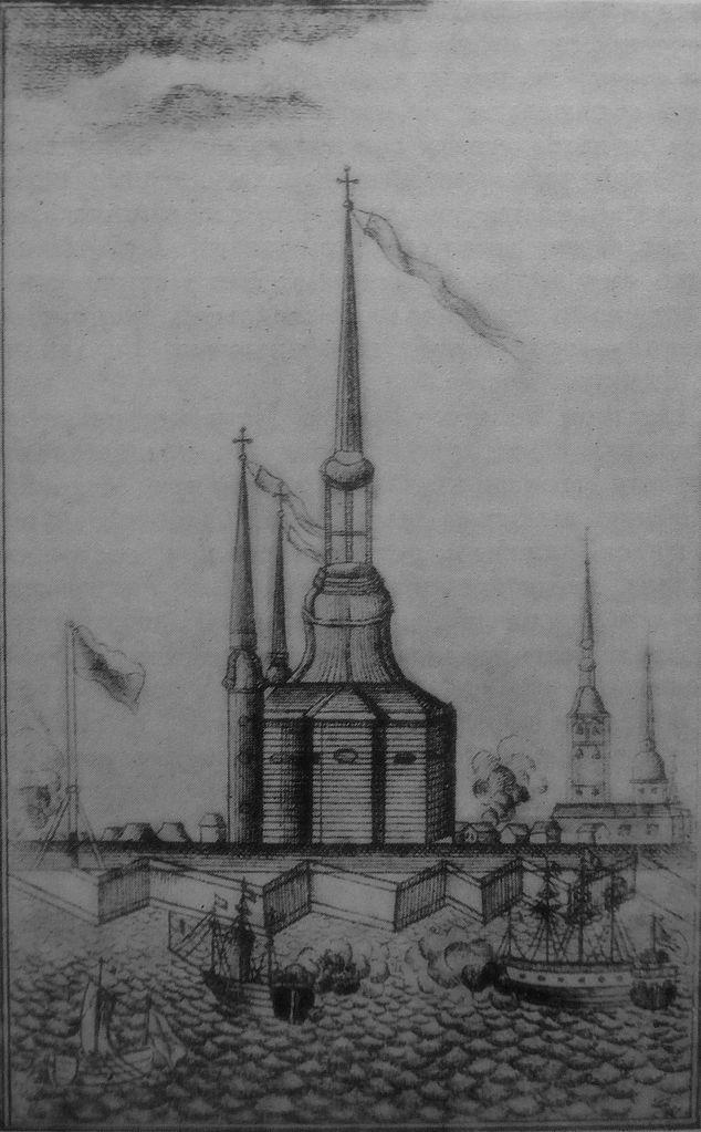 Деревянная Петропавловская церковь. Гравюра Г. А. Качалова. (Wikimedia Commons)