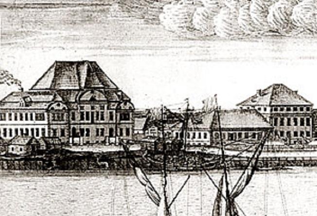 Дом Голицыных (слева) на панораме А.Ф. Зубова, 1716 г. Фото: citywalls.ru