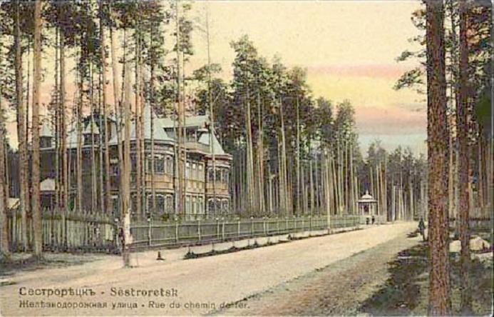 Дореволюционная открытка с видом на улицу Андреева (бывшую Железнодорожную). Вдали виднеется беседка. (Wikimedia Commons)