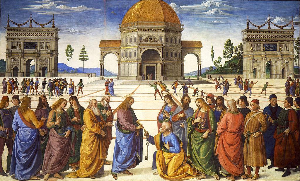 """Пьетро Перуджино """"Вручение ключей апостолу Петру."""", ок. 1482 г."""