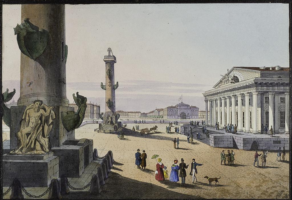 Ростральные колонны в XIX веке. Автор картины: Беггров, Карл Петрович  (Wikimedia Commons)