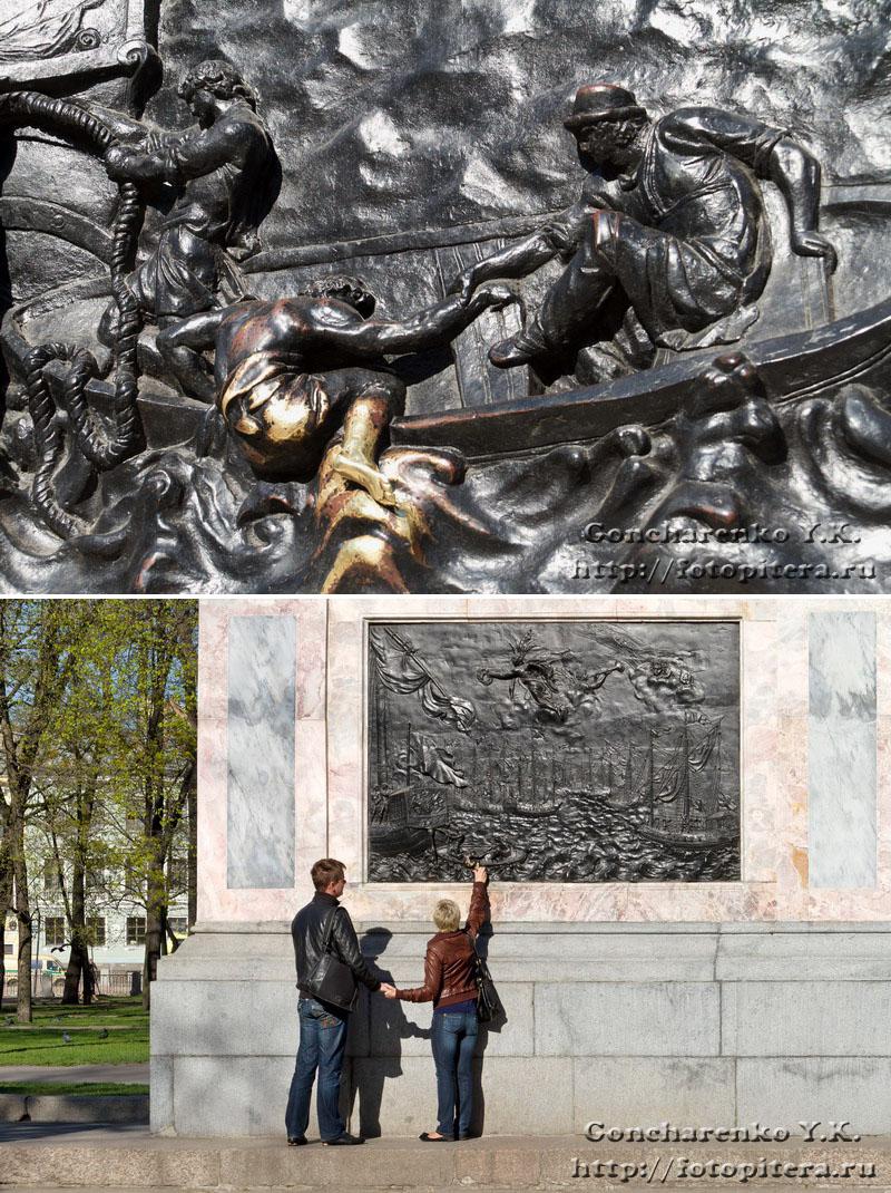 Барельеф на постаменте памятника Петру I, источник фото: http://fotopitera.ru/2011/06/28/2-памятник-петру-i-у-михайловского-замк/