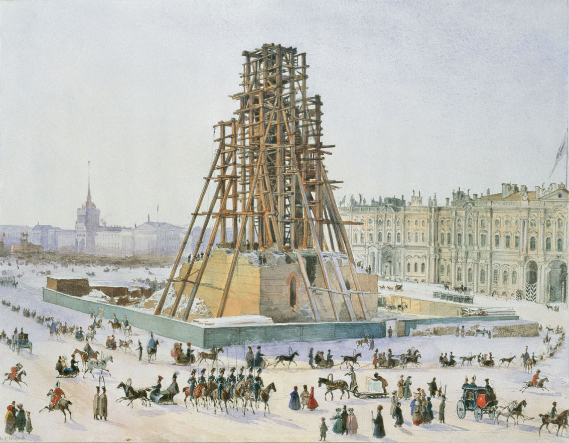 Александровская колонна в лесах 1832 - 1833 гг. Автор: Grigory Grigorievich Gagarin (Wikimedia Commons)