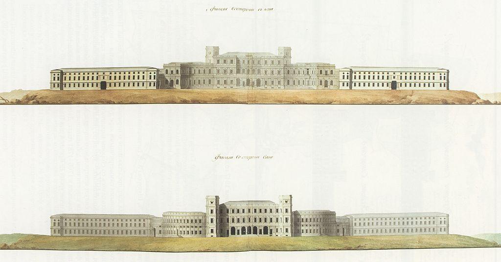 Фасады дворца, 1790-е гг. Скан: Артём Топчий (Wikimedia Commons)