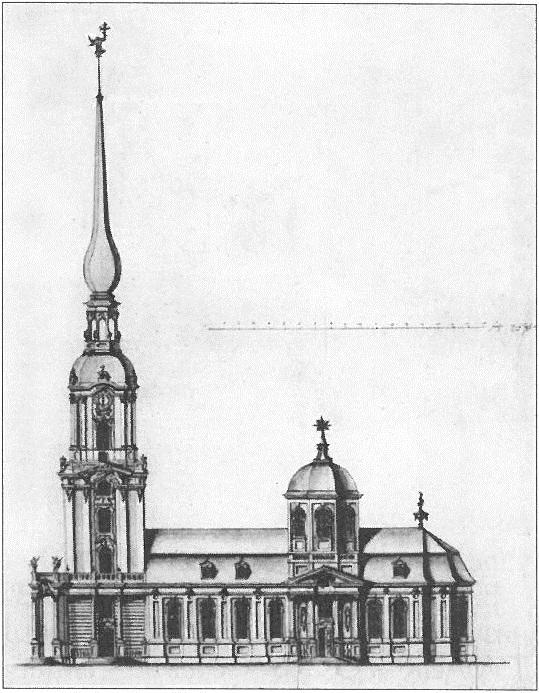 Николай Гербель. Южный фасад церкви Исаакия Далматского. 1721 г., Государственный Эрмитаж