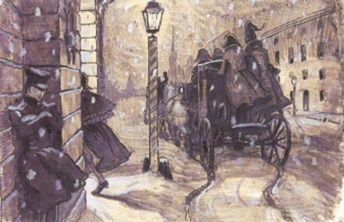 """А. Н. Бенуа. """"Германн у дома графини"""" (1905) (Wikimedia Commons)"""